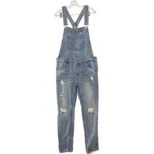 ZARA   lightwash distressed denim overalls